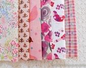 S001 Fabric Scraps Bundle Set - Pink Colorway Spring Floral Garden Bird Heart Little Flower (6PCS, 9x9 Inches)
