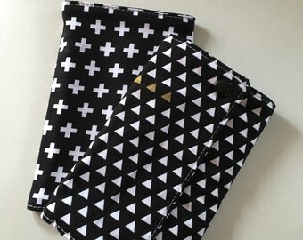 White Crosses on Black Baby Carrier Drool Pads - Baby Carrier Drool Pads - Fits most Carriers - Ready to Ship