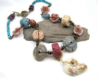 Of Life and Time - Boho Necklace Ceramic, Polymer Clay, Shell, Turquoise & Lampwork, Rustic Earthy Coral Color, Ivory