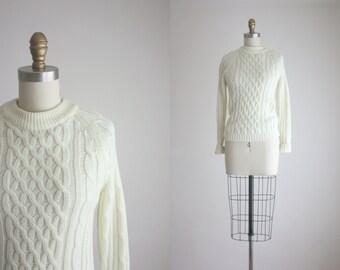 vintage cream fisherman sweater