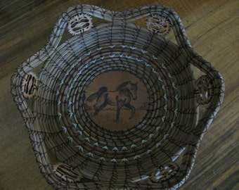 Wood Burnt Image of Prancing Horse Pine Needle Basket