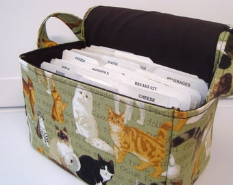 Super Large Size Coupon Organizer / Budget Organizer Holder Box - Attaches to Your Shopping Cart - Multi Cats on Green