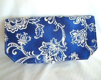 40% Off Coupon Organizer Cash Budget Organizer Holder- Attaches to your Shopping Cart / Blue with White Floral / Out Of Print