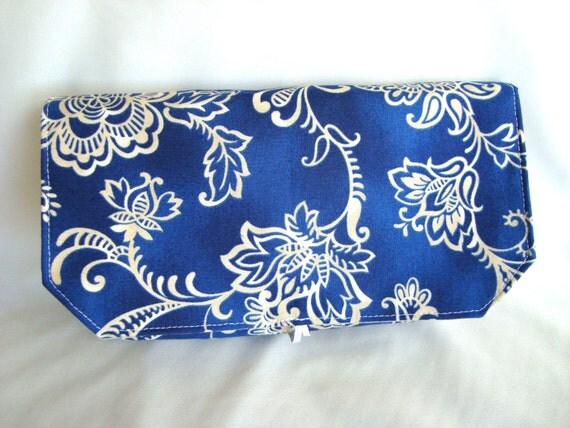 Coupon Organizer Cash Budget Organizer Holder- Attaches to your Shopping Cart / Blue with White Floral / Out Of Print