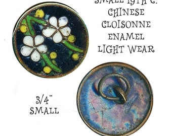 Button--Small Early 20th C. Chinese Cloisonne Enamel--White Flowers
