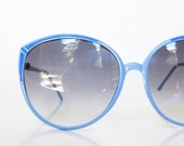 SALE Pastel Blue Sunglasses Round Oversized Womens Ladies 1960s Lolita Indie Hipster Chic 60s Retro Vintage Authentic Deadstock Baby Blue