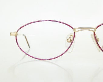 Vintage Pink Reading Glasses 1980s Oval Womens Eyeglasses 80s Magenta Mottled Brushed Gold Matte Eighties Golden Classic Ladies