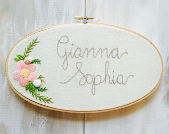 Choose your Colors. Custom Name Embroidery Hoop. Nursery Decor. Oval Embroidery Hoop. Baby Name Embroidery. Embroidery Hoop Art by KimArt.