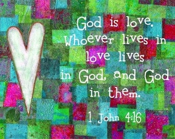God is Love Bible Scripture Verse Christian Art Print
