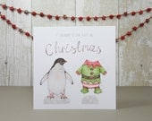 Paper doll Christmas card with elf penguin - Dress up paper doll penguin in elf costume - Greetings card - Hand drawn animal Christmas card.