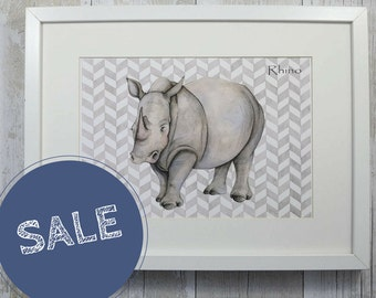 Rhino print - animal art - rhino illustration - watercolour animal art - African wildlife