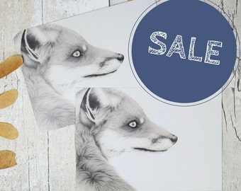 Two fox portrait fine art postcards