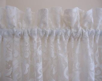 Off White Floral Lace Curtain Panel 64 long...a total of 4 are available