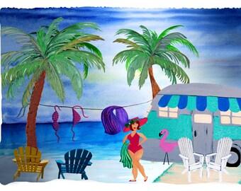 Air stream retro camping girl on the beach throw blanket from my original art.