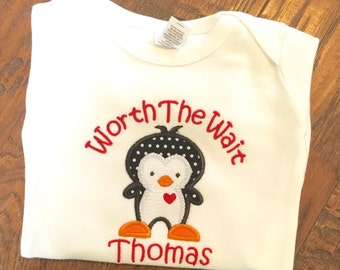 Worth the Wait, Newborn gift, Personalized Baby gift, Personalized baby outfit, Babies Coming Home outfit, First baby outfit