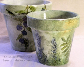 Hand Painted Garden Clay Pot with Herbs Fern Lavender