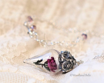 Fuschia Pink Rose Glass Vial Flower Terrarium Necklace by Woodland Belle