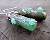 Smooth Large and Beautiful Raw Chrysoprase Gemstone and Sterling Silver Chain Earrings