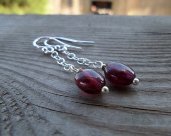 Simple Pink Tourmaline Sterling Silver Dangle Earrings