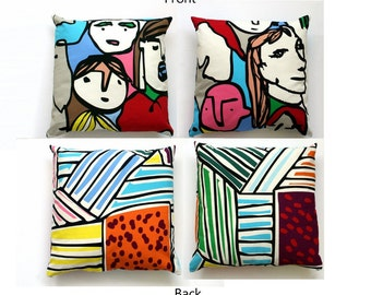 Set of 2 Pillow Covers Pop Art IKEA Fabric of Design Faces, 16x16