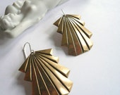 Large gold earrings. Art deco earrings. Big gold dangles. Gold art deco dangles. Lightweight Geometric brass stamping. 14K gold fill earwire