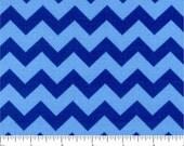 BLUE CHEVRON Fabric - quilt fabric - yardage - bolt - blue fabric - cotton