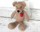 "Little Hand Knit Teddy Bear, Ready To Ship, Newborn Photo Prop, Stuffed Animal Baby Toy, Valentines Day Toddler Gift, Brown Bear 8 1/2"" Tall"