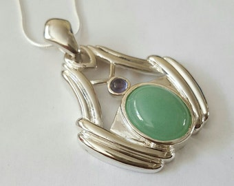 Vintage Sterling Silver Jade and Amethyst Cabochon Pendant Necklace