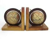 Vintage Mid Century Globe Bookends. Circa 1960's.
