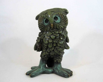 Vintage Green Plaster Owl Statue with Large Feet. Circa 1960's.