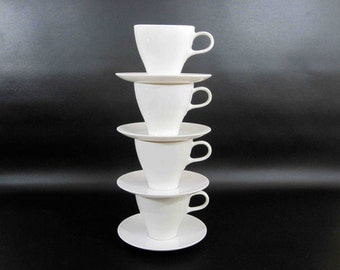 """Vintage 18 Piece Melamine Cup and Saucer Set in White by """"Royalon Inc"""" and """"Lucent"""". Mixed Set. Circa 1950's - 60's."""