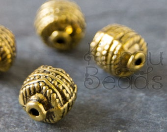 8 Decorated Barrel, Ornate Gold Color Metal Round Beads with dotted Design 9.5x8.5mm, Hole:Approx 1mm, Gold color beads, gold color barrels