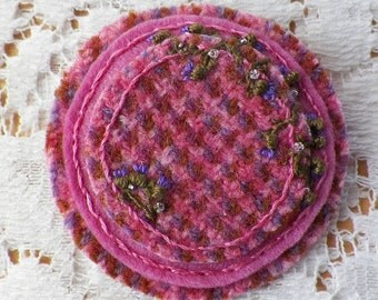 Handmade Round Felted Wool Brooch / Pin / Broach, Pink, Purple, Copper Brown Plaid / Hounds Tooth / Herringbone, Tiny Embroidered Thistles