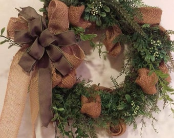 Spring Burlap and Greenery Grapevine Wreath
