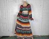 70s Maxi Skirt & Crop Top- 1970s Midriff Peasant Blouse- Hippie / Boho / Festival- Dark Green + Rust Red