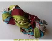 Multicolor Sari Ribbon, Unique Craft Ribbon, Crochet Yarn, Sari Silk Ribbon Yarn, Recycled Silk Cotton Yarn, Holiday Yarn, Christmas Yarn