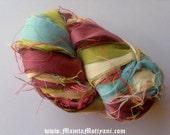 Pastel Colored Ribbon Yarn, Variegated Sari Ribbon Yarn, Spring Yarn, Recycled Sari Silk Yarn, Pastel Colored Yarn, Multicolored Ribbon Yarn