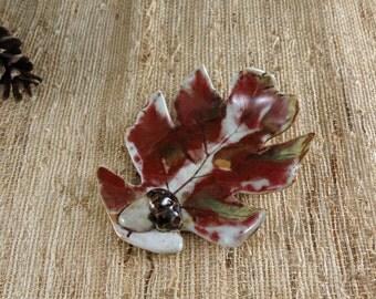 Pottery Porcelain Oak Leaf - Ceramic Soap Dish - Tea Bag Holder - Ring Dish - Candle Holder - 297