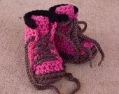 Baby Booties, Baby Work Boots, Construction Boots, Crochet Baby Booties