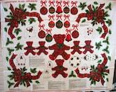Christmas Plaid Appliques Fabric Panel