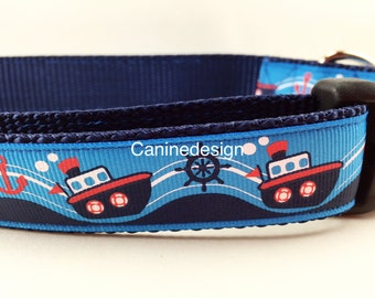 Dog Collar, Tugboat, 1 inch wide, adjustable, quick release, metal buckle, chain, martingale, hybrid, nylon