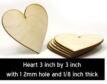 Unfinished Wood Heart - 3 inches tall by 3 inches wide and 1/8 inch thick with 1 2mm hole wooden shape (HART74)