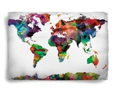 Worldmap Watercolor Design Pillow Covers- color options, Standard or King Size