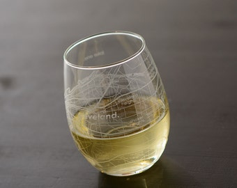 Cleveland Maps Stemless Wine Glass