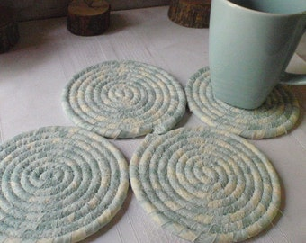 Pale Blue and Cream Coiled Fabric Coasters - Set of 4 Absorbent Coasters - Handmade by Me