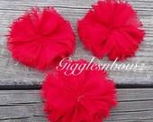 Chiffon Twirl Flowers- Red 3 inch - Fabric Flowers, Flowers for Hair, Flowers for Headband, DIY Hairbow Supplies- Ballerina Flowers