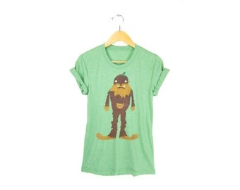 Bigfoot the Squatch Tee - Boyfriend Fit Crew Neck T-shirt with Rolled Cuffs in Heather Forest Green & Brown Fur - Women's Size S-4XL