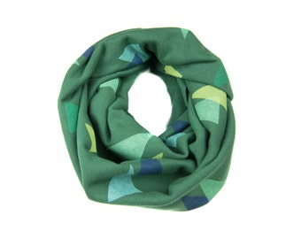 Forest Floor Infinity Scarf - Hand Printed Sweatshirt Fleece Circle Scarf in Deep Green and Blue Trees Q