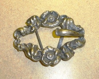 Nice Antique Art Nouveau Silver Belt Buckle Sash Buckle Silverplate accessories