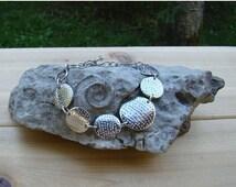 On Sale Silver Disc Bracelet Classy Design Pretty 1980s Disc Man Silvertone Beauty Bracelet